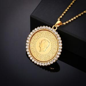 Image 2 - Jamais fané grande taille turquie pièce pendentif et colliers avec cristal AAA pour les femmes couleur or pièces de monnaie turques bijoux cadeaux ethniques