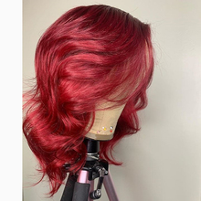 Human-Hair-Wig Wave Glueless Red Peruvian with for Women Pre-Plucked Natural Hairline