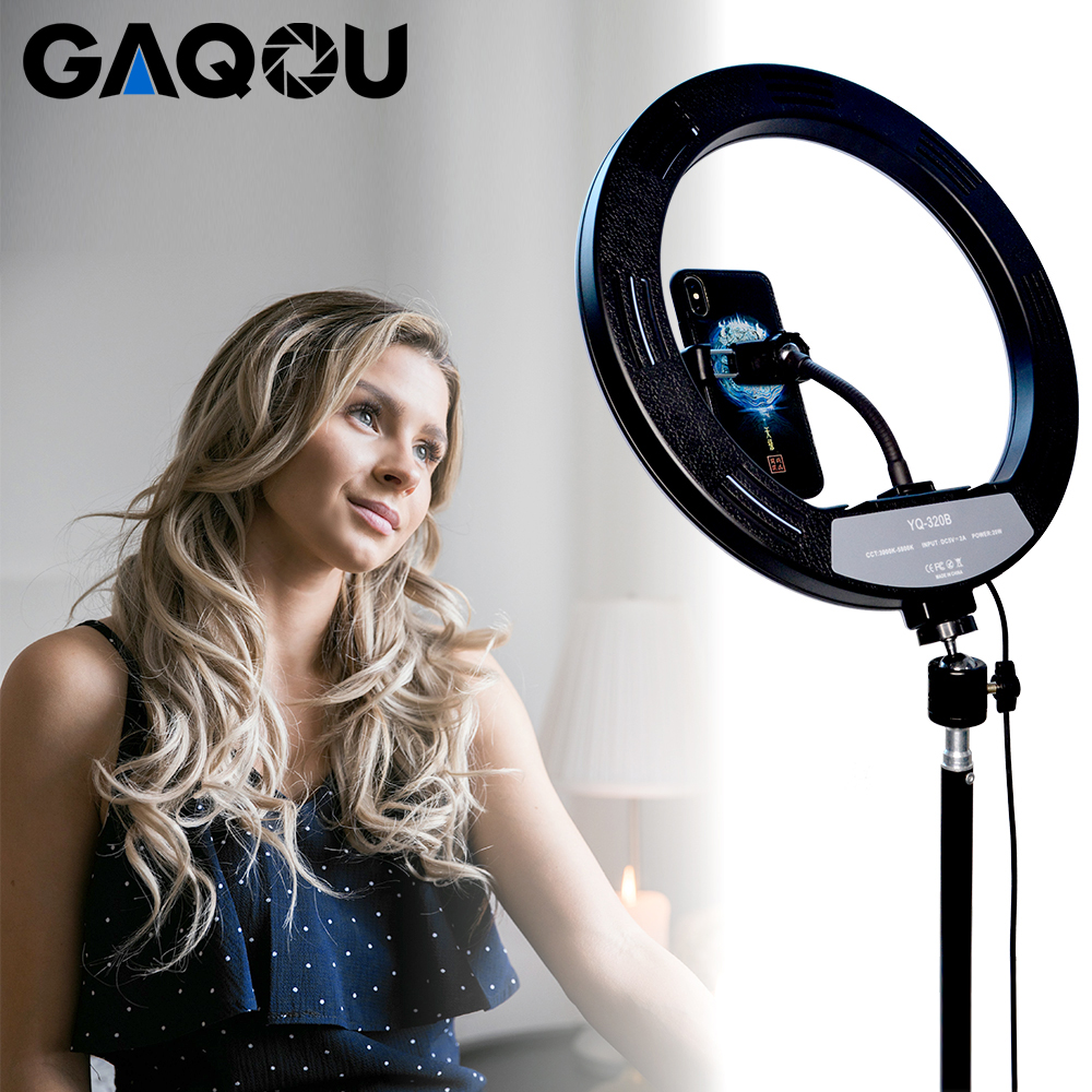 Dertyped Selfie Ring Light Dimmable 30cm 12inch Live Fill Light Mobile Phone Bracket Led Ringlight Flashes Anchor Self-Timer Self-Portrait Shooting Color : White, Size : 10inch