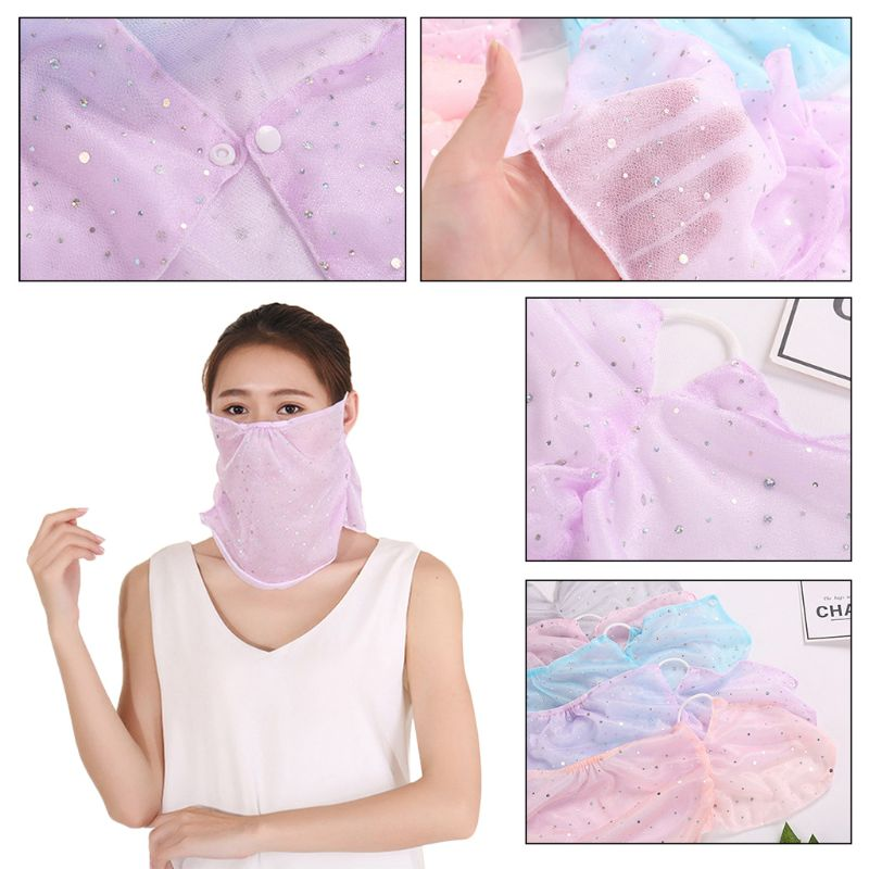 Women Girls Summer UV Protection Mouth Neck Mask Dust Cover Sunblock Sweet Candy Color Glitter Rhinestone Earloop Mouth-Muffle