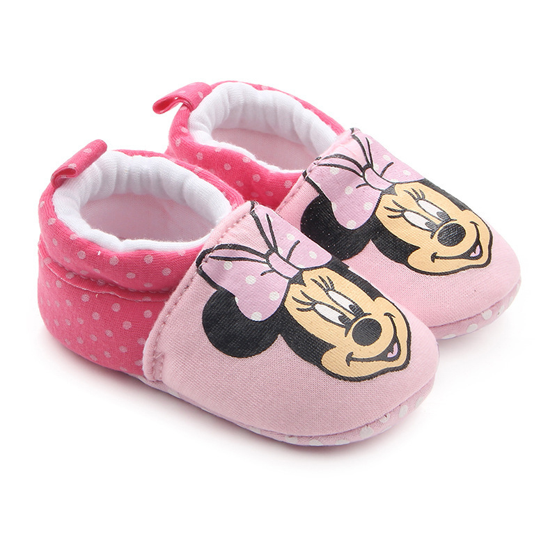 0-18 Months Lovely Cartoon Animals Mickey Baby Shoes Newborn Infant Home Baby Boy Girl Shoes First Walkers Soft Sole Crib Shoe