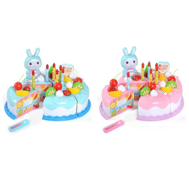 1 Set DIY Cake Toy Kitchen Food Pretend Play Cutting Fruit Birthday Toys Party Cake Food Pretend Play Toy
