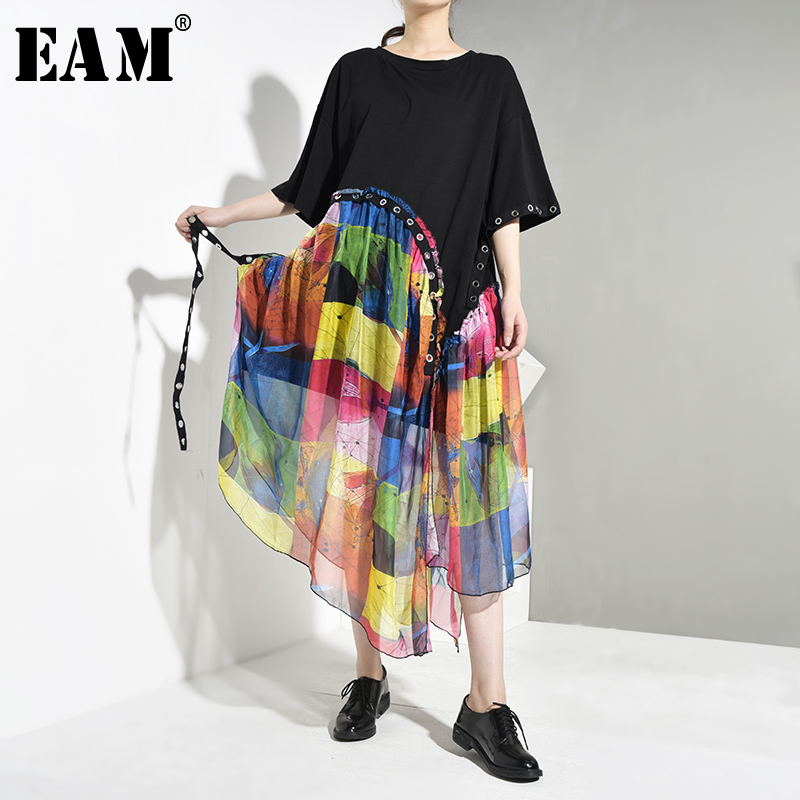 [EAM] Women Black Pattern Print Chiffon Big Size Dress New Round Neck Short Sleeve Loose Fit Fashion Spring Autumn 2020 JX8660