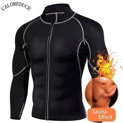 Men Body Shaper Sweat Neoprene Weight Loss Jacket Sauna Suit Workout Shirt Fitness Gym Top Clothes Shapewear Long Sleeve Belt