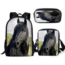 3Pcs/Set Handsome Black Horse Prints School Bags for Boys Teenager Girls Friesian Horse Backpacks Student Travel Bagpack(China)