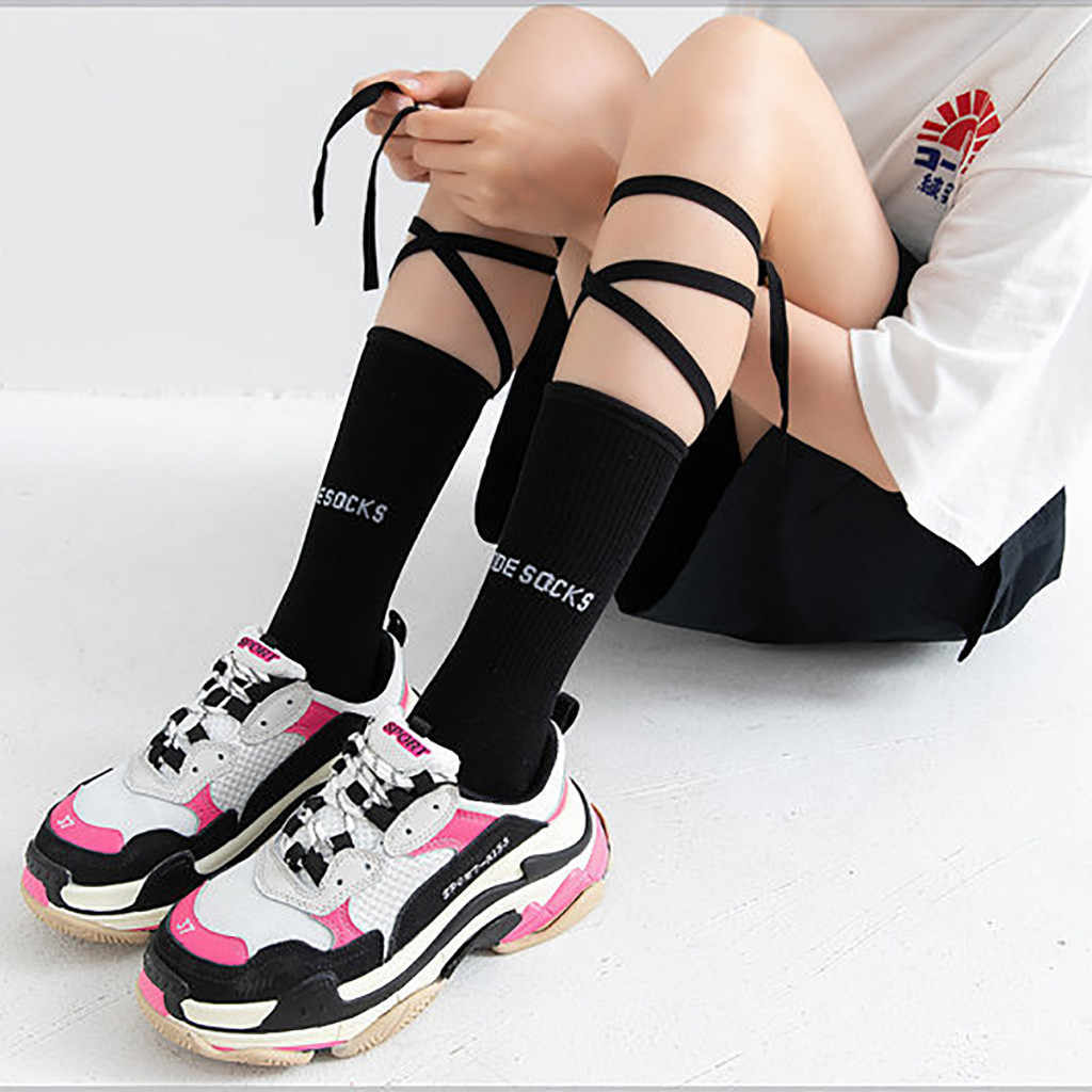 Korean Style Harajuku Street Hip Hop Socks Solid Color Lace Up Letters Printing Casual Socks For Women Gothic Bandage Socks 2020