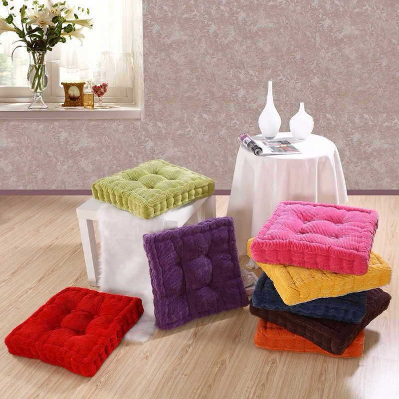 Silla cojín de Corduroy de maíz cojín de asiento grueso elástico redondo suave almohadas Vintage decorativo de color sólido para sofá nalgas