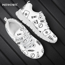 INSTANTARTS Medicine Pattern Women Nursing Shoes Casual Lace