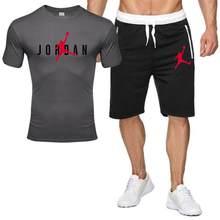 Nova camiseta masculina duas peças define casual treino carta impressão ternos sportwear calças de fitness camisa hombre conjuntos homme