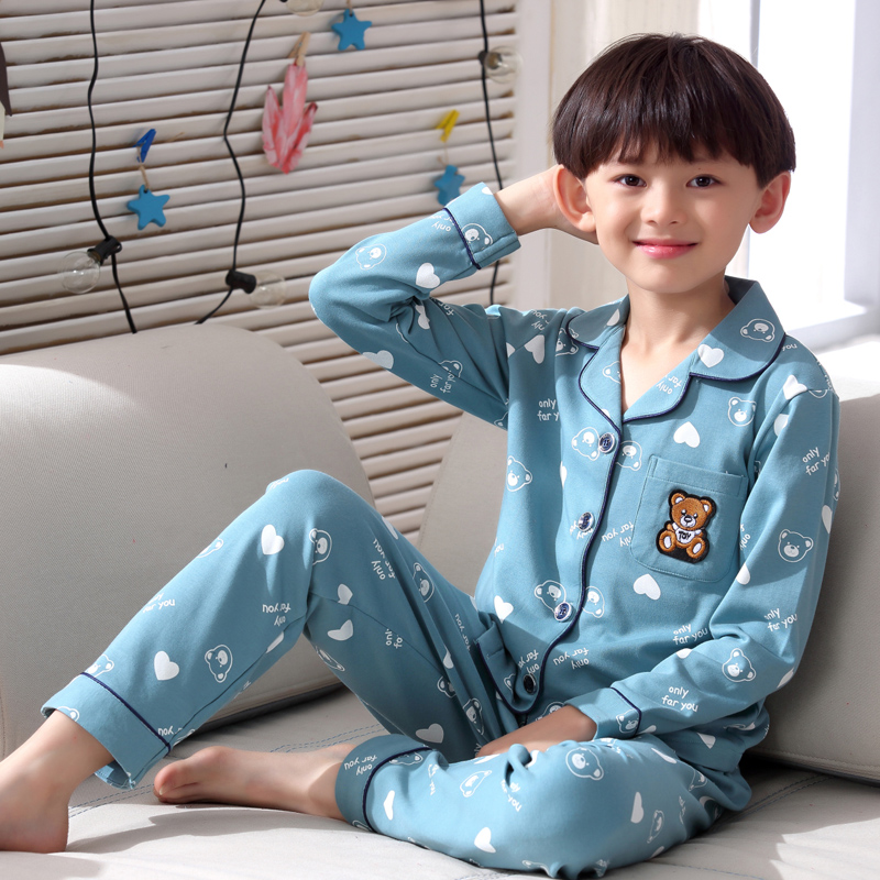 H5651 Boys Pajamas Nightwear Homewear Spring Autumn Teenagers Cartoon Long Sleeve Cotton Thin Sleepwear Comfortable Home Suit