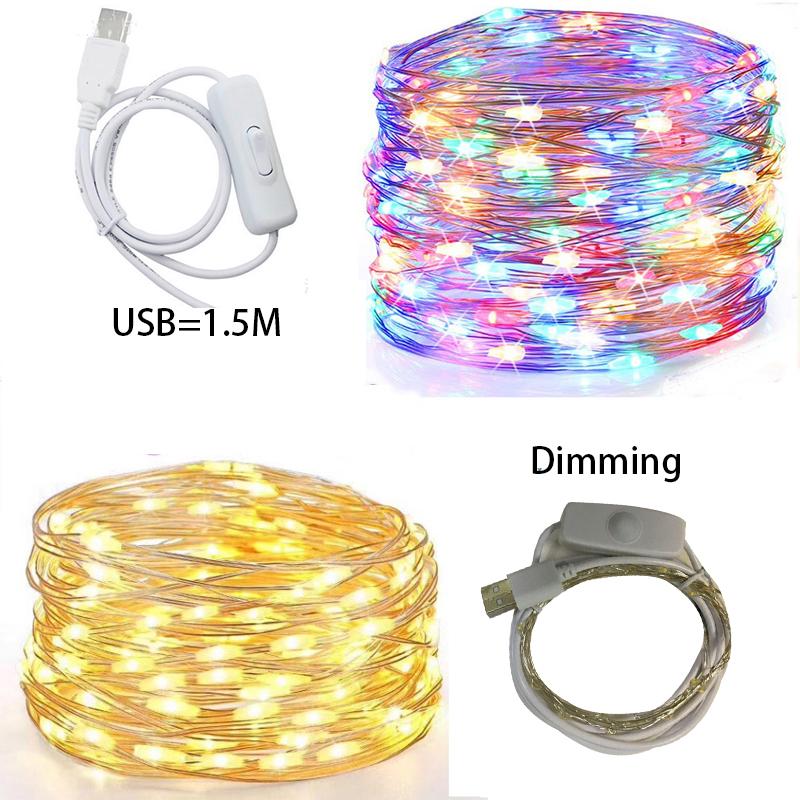 5M/10M/20M <font><b>LED</b></font> star light string fairy garland <font><b>1.5M</b></font> USB power copper wire lamp for party christmas wedding decoration image