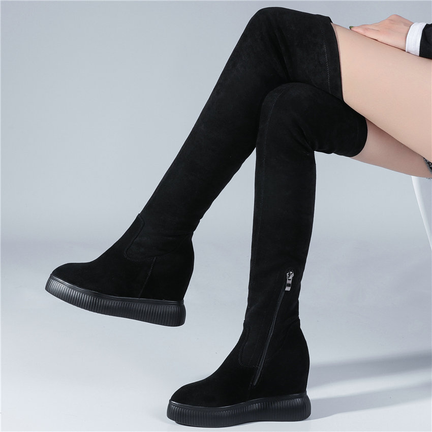 Women Cow Leather Stretchy Wedges High Heel Slim Leg Thigh High Military Boots Winter Pointed Toe Platform Pumps Long Sneakers