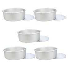 Kuchen Pan, 5 Pcs Runde Kuchen Pfannen Backen Pfannen Zinn Set Kuchen Form Backform mit Abnehmbaren Boden (Silber)