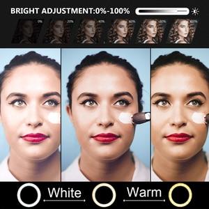 Image 3 - 26cm halka ışık LED fotoğraf stüdyosu kısılabilir kamera lambası Video Youtube makyaj VK Selfie ile 160cm Tripod telefon tutucu standı