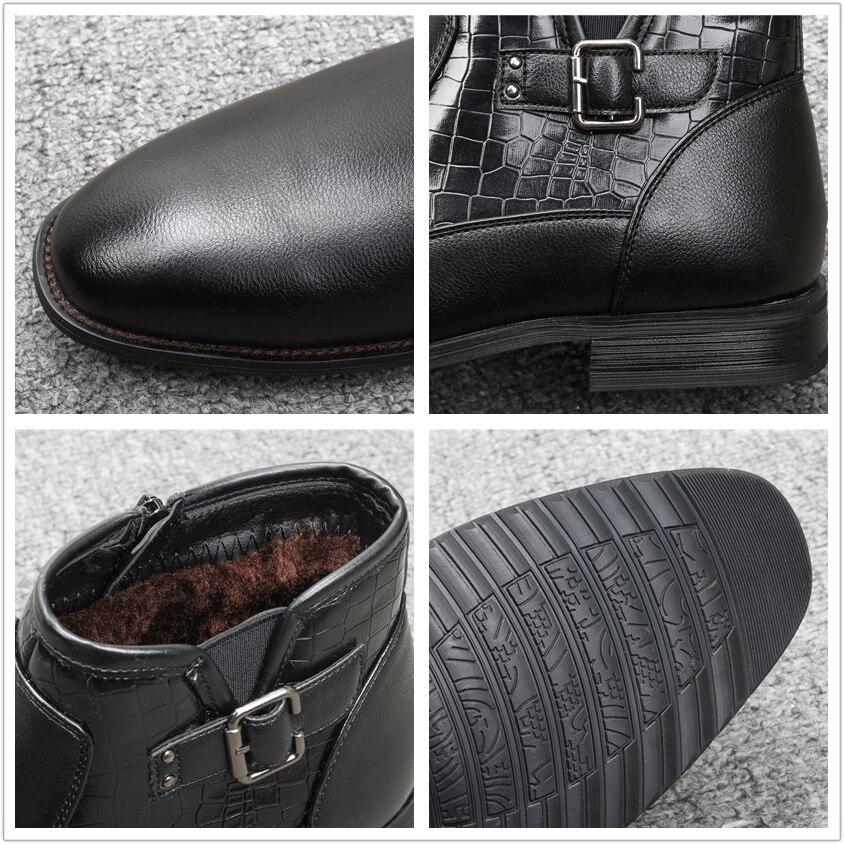40-46 Men ankle Boots Comfortable Lather Snow Boots 2020 Non-Slip warm men's winter Dress shoes #DM5281C1 4