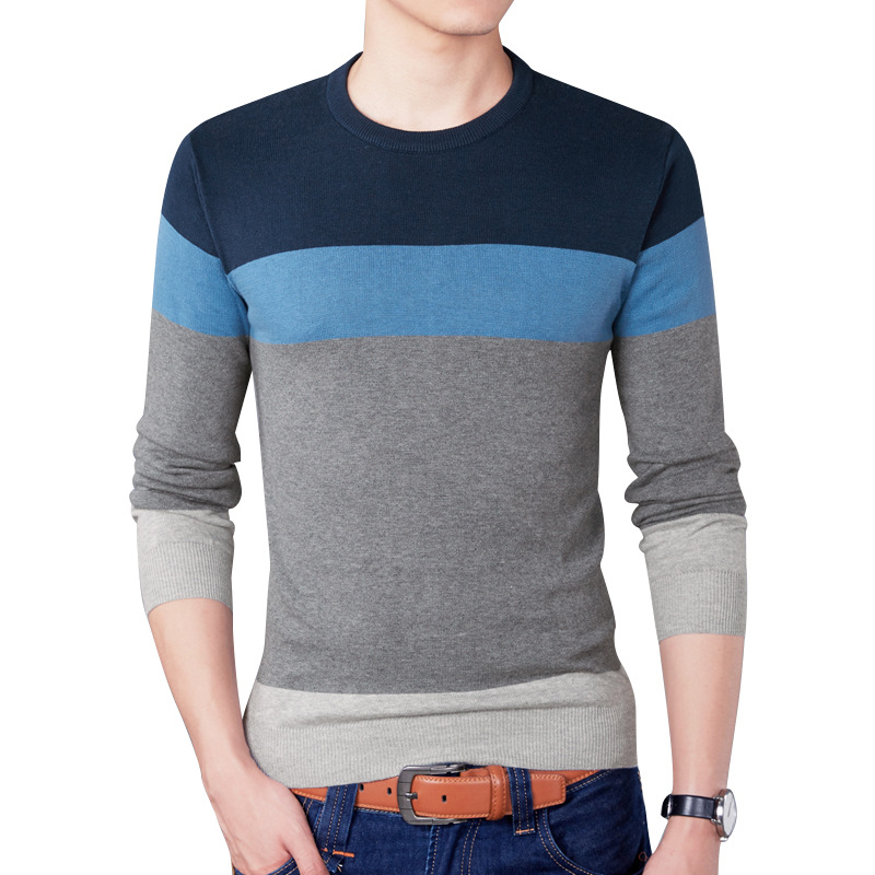 2019 New Casual Pullover Men Spring Round Neck Patchwork Quality Knitted Brand Male Sweaters Plus Size 3XL Mens Sweater 2