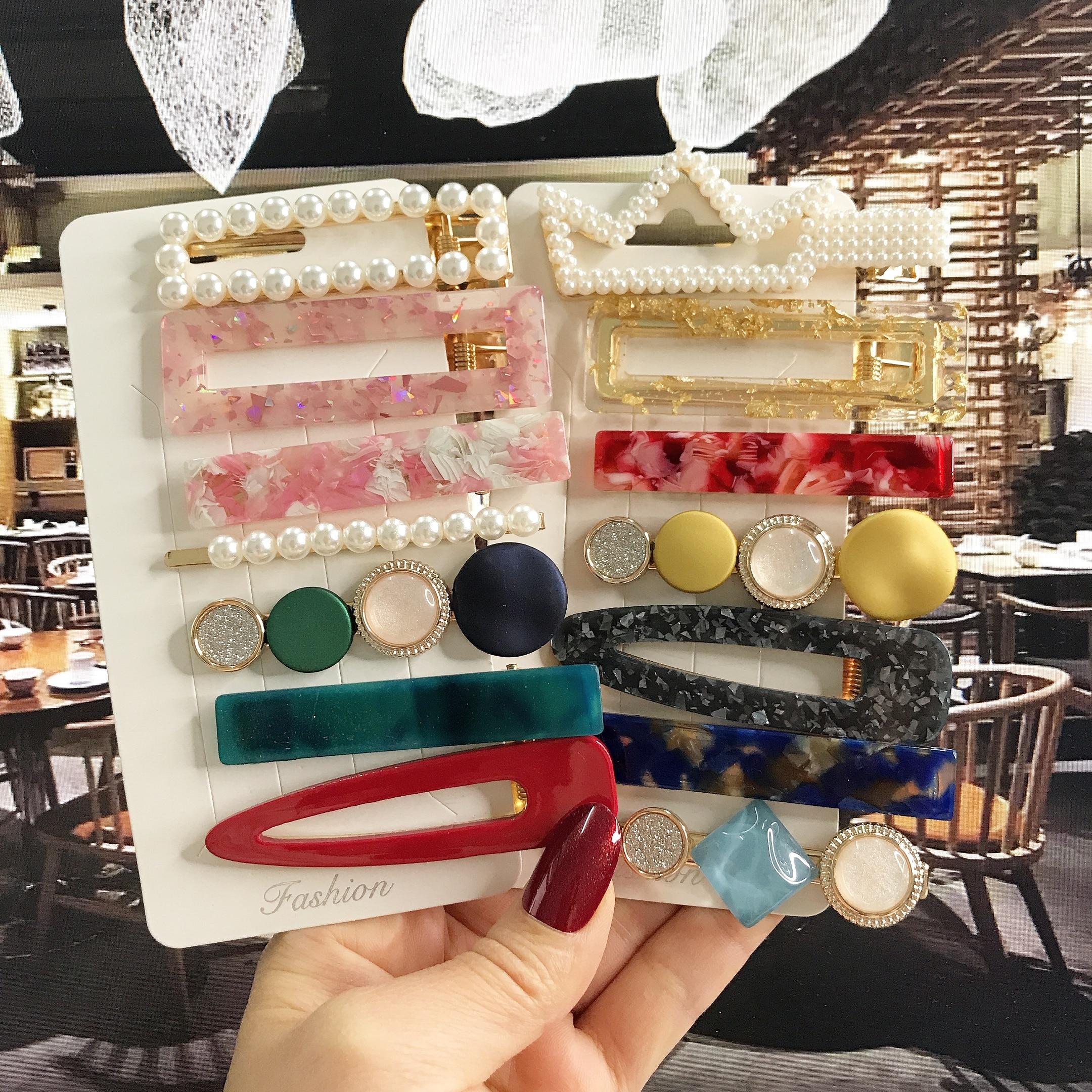 Korean Fashion Acrylic Barrette For Women Vintage Geometric BB Hairpins Clips Set Simulated Pearl Girl Hair Accessories Hairgrip