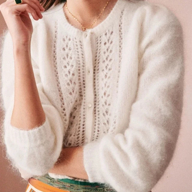 Two Solid Color Knit Sweater Hollow Out O-neck Cardigan Puff Sleeve Elegant Lady Coat
