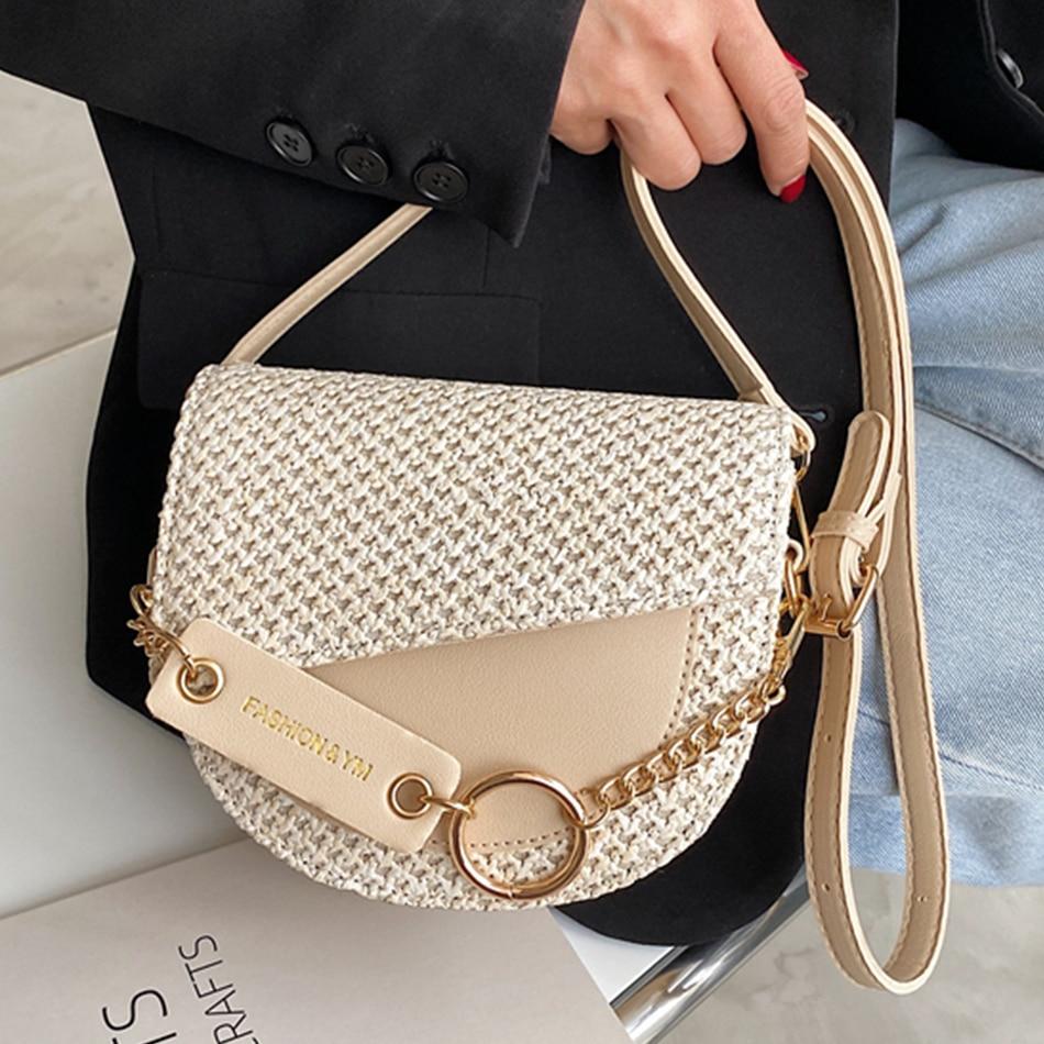 Knitting Semicircle Mini Saddle Bags Pu Leather Shoulder Crossbody Bags for Women 2021 Fashion Female Beach Bag Ladies Phone Bag