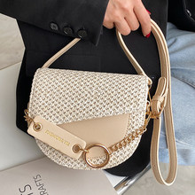 Knitting Semicircle Mini Saddle Bags Pu Leather Shoulder Crossbody Bags for Women 2021 Fashion Female Beach Bag Ladies Phone Bag