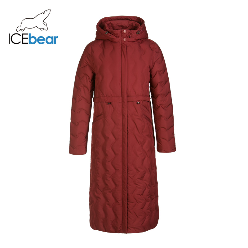 ICEbear 2019 New Winter Long Women's Down Jacket Fashion Warm Ladies Apparel Hooded Brand Women Clothing GN418305P