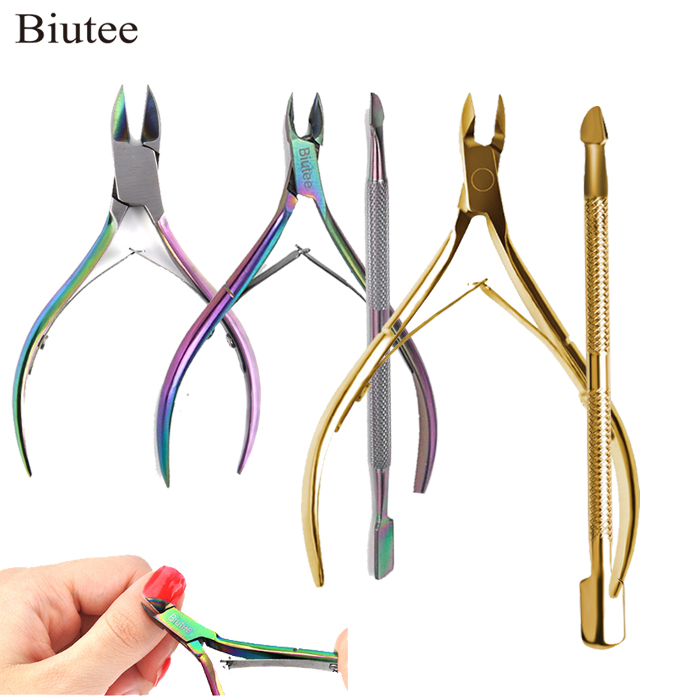 Biutee Gold Stainless Steel Nail Cuticle Scissors Nipper Manicure Pedicure Nail Tools Kits Double Fork Dead Nail Scissors New