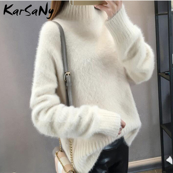 KarSaNy Winter Mink Cashmere Thick Sweater Women Jumper White Pull Femme Loose Pullover Knitted Fluffy Sweaters For