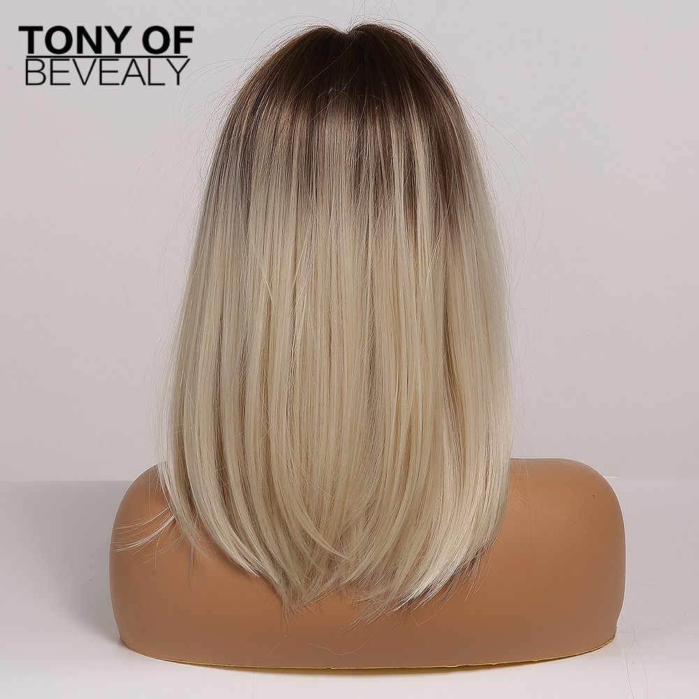 Brun à la lumière Blonde Ombre cheveux moyenne droite couches Bob perruques synthétiques partie moyenne pour les femmes résistant à la chaleur Cosplay perruques