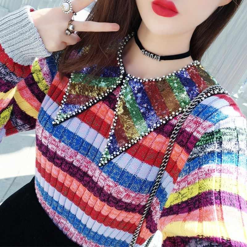 새로운 다채로운 스트라이프 여성 스웨터 브랜드 스팽글 칼라 니트 탑스 여자 봄 가을 비즈 점퍼 풀오버 Sueter Feminino