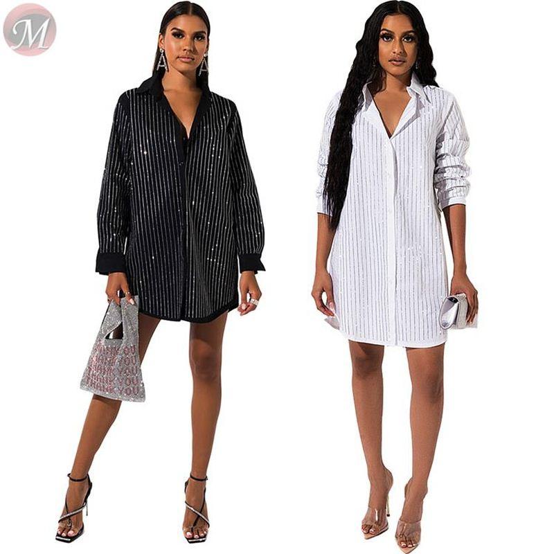 2020 Casual White and Black Rhinestone Stripe Shirt Dresses High Womens Fashion Clothing