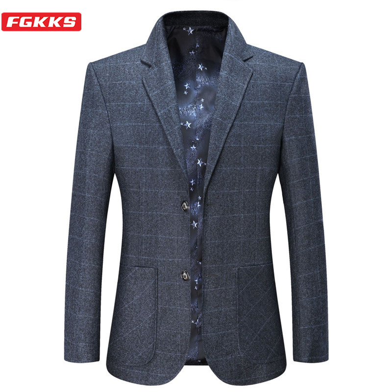 FGKKS Men Business Casual Blazers Men's Solid Color Plaid Suit Jacket Spring Autumn New Fashion Comfortable Blazers Male