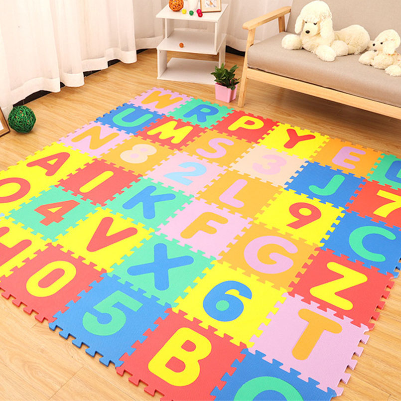 H3d114b121c1b42089628db35f3cd4b05k 30*30cm Foam English Alphabet Number Pattern Play Mat For Baby Children Puzzle Toy Yoga Letter Crawling Mats Rug Carpet Toys