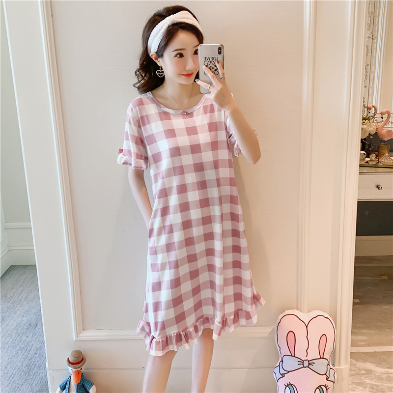 Summer Short-sleeved Nightgown Women's Thin Tracksuit Casual Loose-Fit Cute Cartoon Dress 170 Grams M -Xxl