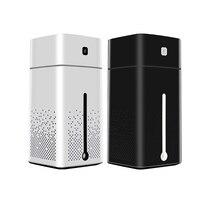 2 Pcs 1000Ml Air Humidifier Ultrasonic Usb Diffuser Aroma Essential Oil Led Night Light Mist Purifier Humidifier, White & Black
