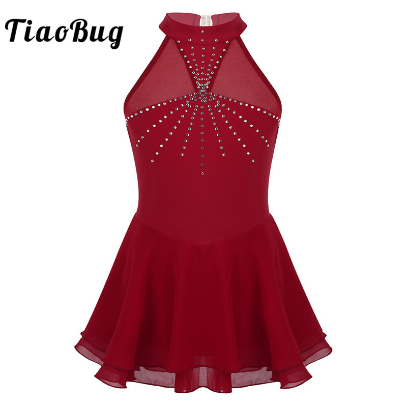 TiaoBug Kids Teens Sleeveless Sparkly Rhinestones Mesh Splice Figure Skating Dress Girls Ballet Gymnastics Leotard Dance Wear