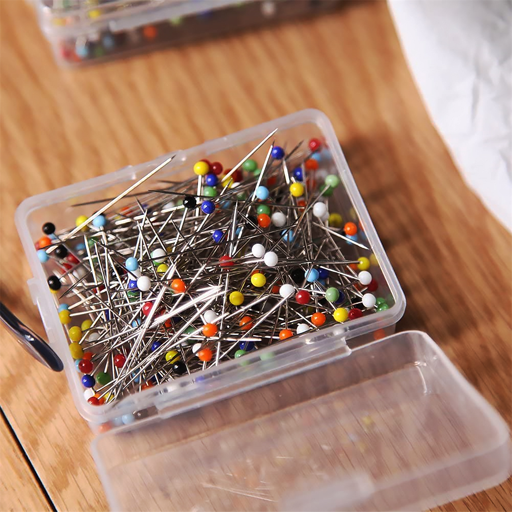250 sztuk szklane szpilki z główką kulkową mieszane kolory proste pikowania igły DIY sztuka szycia szpilki