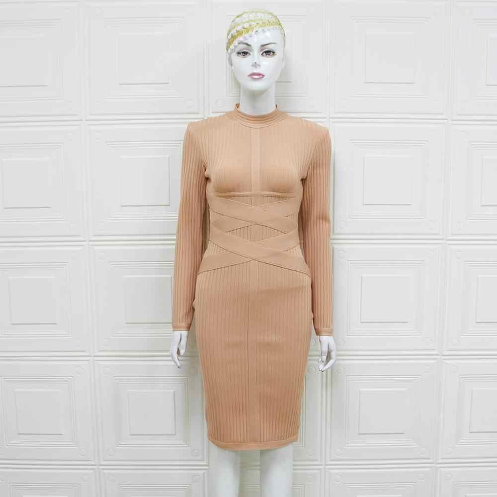 Vestidos Women Dress Sexy beżowa sukienka Bodycon 2019 Designer z długim rękawem elegancka sukienka bandaż