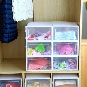 Image 2 - 6Pcs Plastic Shoe Box Stackable Foldable Shoe Organizer Drawer Storage Case with Flipping Clear Door Ladies Men 31.5x21.5x12.5cm