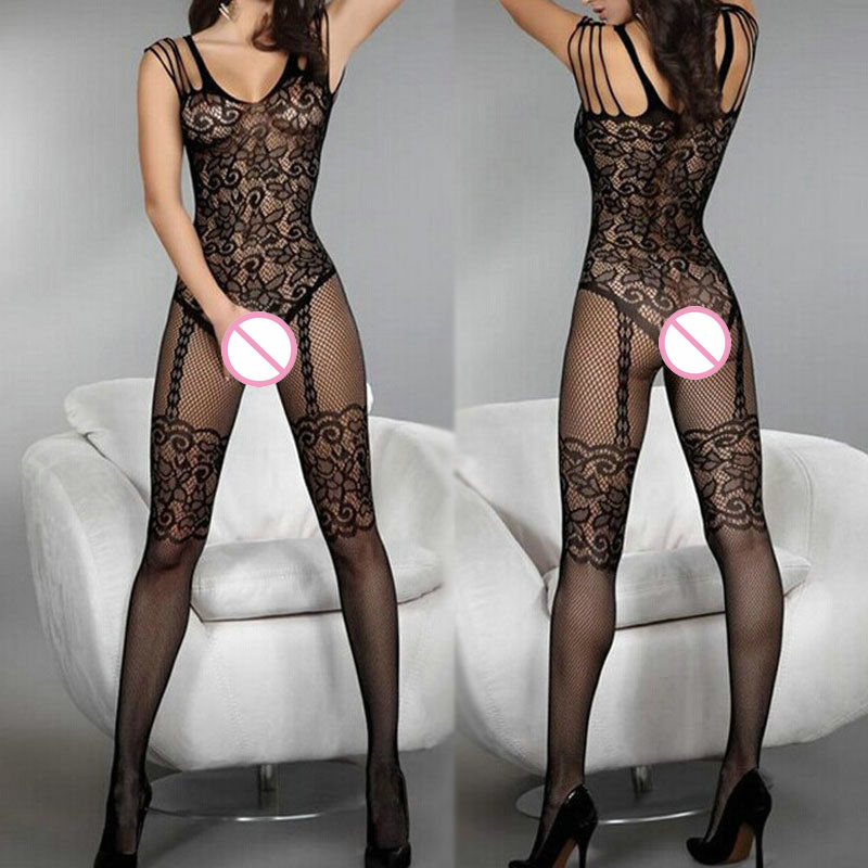 Black Bodystocking Fishnet Sheer Mesh Bodysuit Sexy Leotard Sex Clothes Open Crotch Mesh Flower New Hot Stocking On The Body