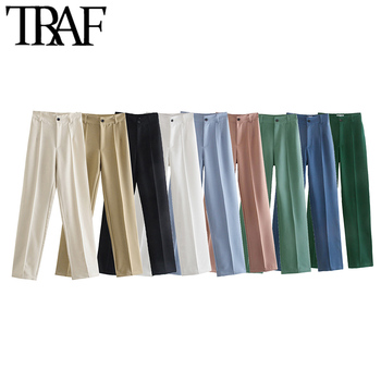 TRAF Women Chic Fashion Office Wear Straight Pants Vintage High Waist Zipper Fly Female Trousers Mujer 1
