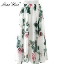 MoaaYina Summer Women Rose Floral-Print Elegant chiffon skir