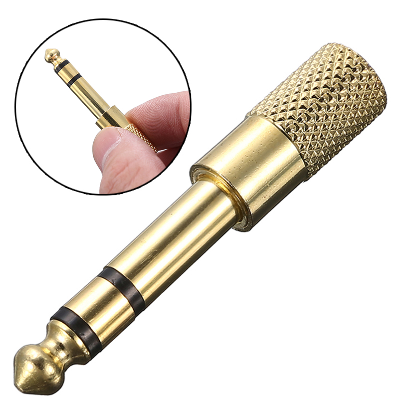 2pcs Gold Plated Jack 6.35mm 3 Pole Stereo Male Plug To 3.5mm Stereo Female Adapter Audio Microphone Plug For Headphone Adaptor