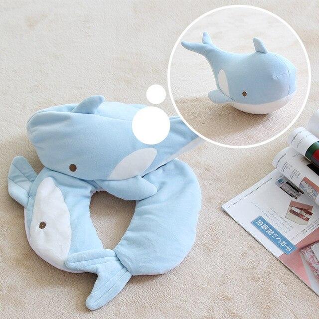 1PC requin déformation oreillers mousse particules U en forme de cou oreiller coussin motif voiture cou Protection oreillers voyage oreiller cou