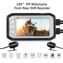 купить Waterproof DV124 Dash Camera Motorcycle HD 1080P 130° Moto Dash Camera Dual DVR Dash Cam Motion Detection Motorbike Electronics дешево
