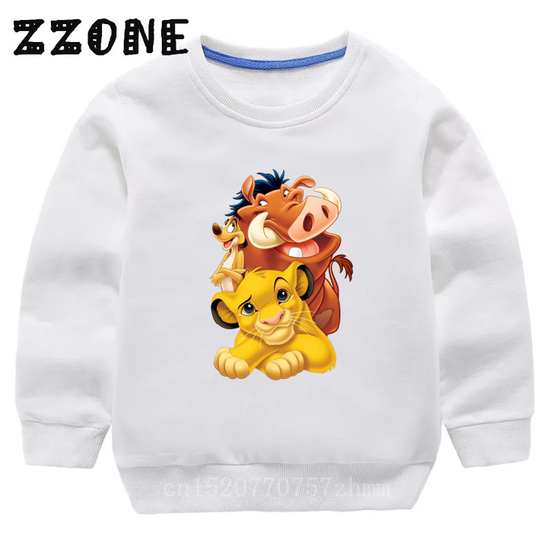Children's Hoodies Kids Cute Simba Cartoon Lion King Print Sweatshirts Baby Pullover Tops Girls Boys Autumn Clothes,KYT5315