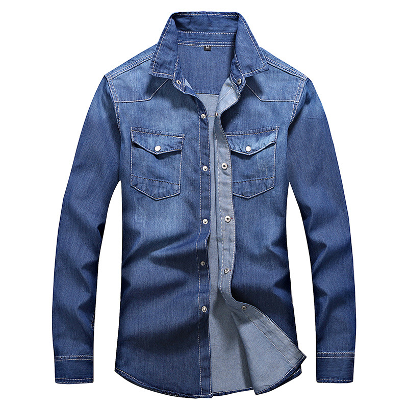 MEN'S Wear Clothes New Style MEN'S Shirts Trendy Pure Color  Denim Shirt Men's Casual MEN'S Shirt Slim Fit Teenager