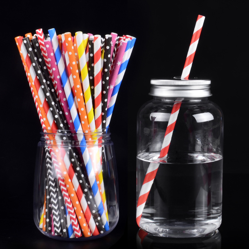 One-Time Paper Straw Online Celebrity Environmentally Friendly Multi-color Stripe Straw Fruit Juice Beverage Milk Tea Paper Bamb