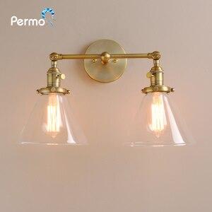 Image 5 - Permo 現代の壁灯壁ランプ燭台 7.3 漏斗ガラスランプシェード wandlamp 寝室ミラーライトロフト装飾照明器具