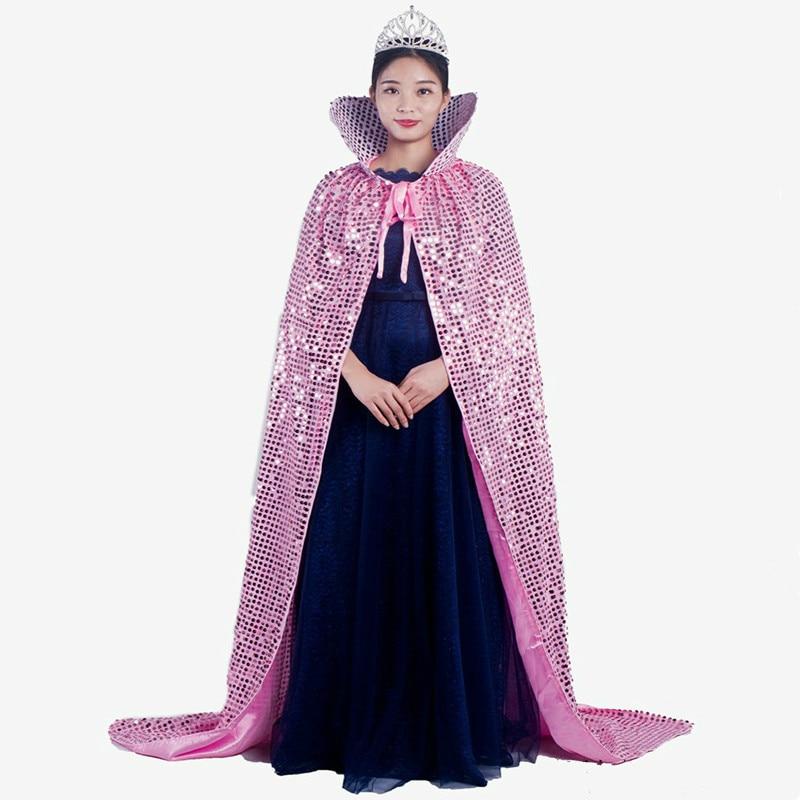 >Night Club Women Cloak Fancy <font><b>Outfits</b></font> Miss World Miss Tourism Model Competition <font><b>Champion</b></font> Bling Sequins Floor Length Cape + Crown