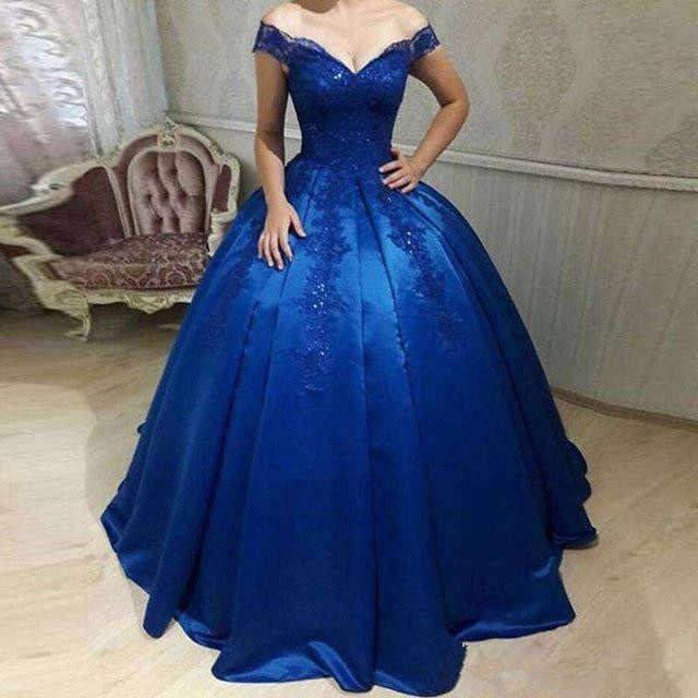 2021 azul real fora do ombro vestidos quinceanera rendas apliques vestido  de baile vestidos ocasião especial doce 16 18 vestido de festa Vestidos de  Festa de 15 Anos  - AliExpress